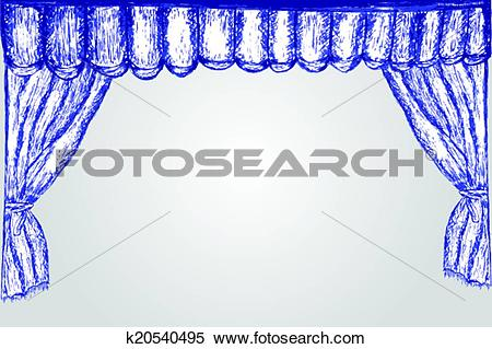 Clipart of hand draw sketch, with pen, curtain k20540495.