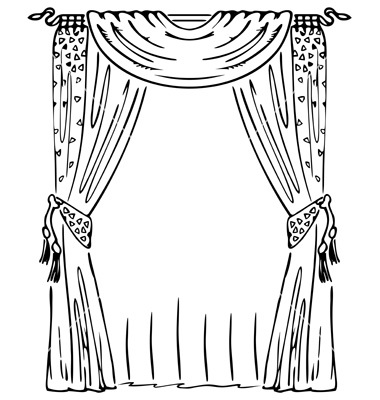 Silhouette clipart black and white window frame with drapes.
