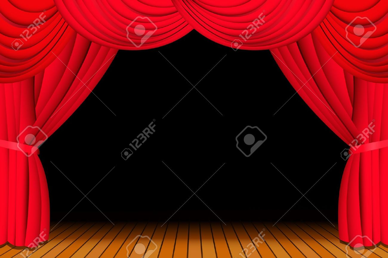 Stage With Opened Red Theatre Curtain Royalty Free Cliparts.