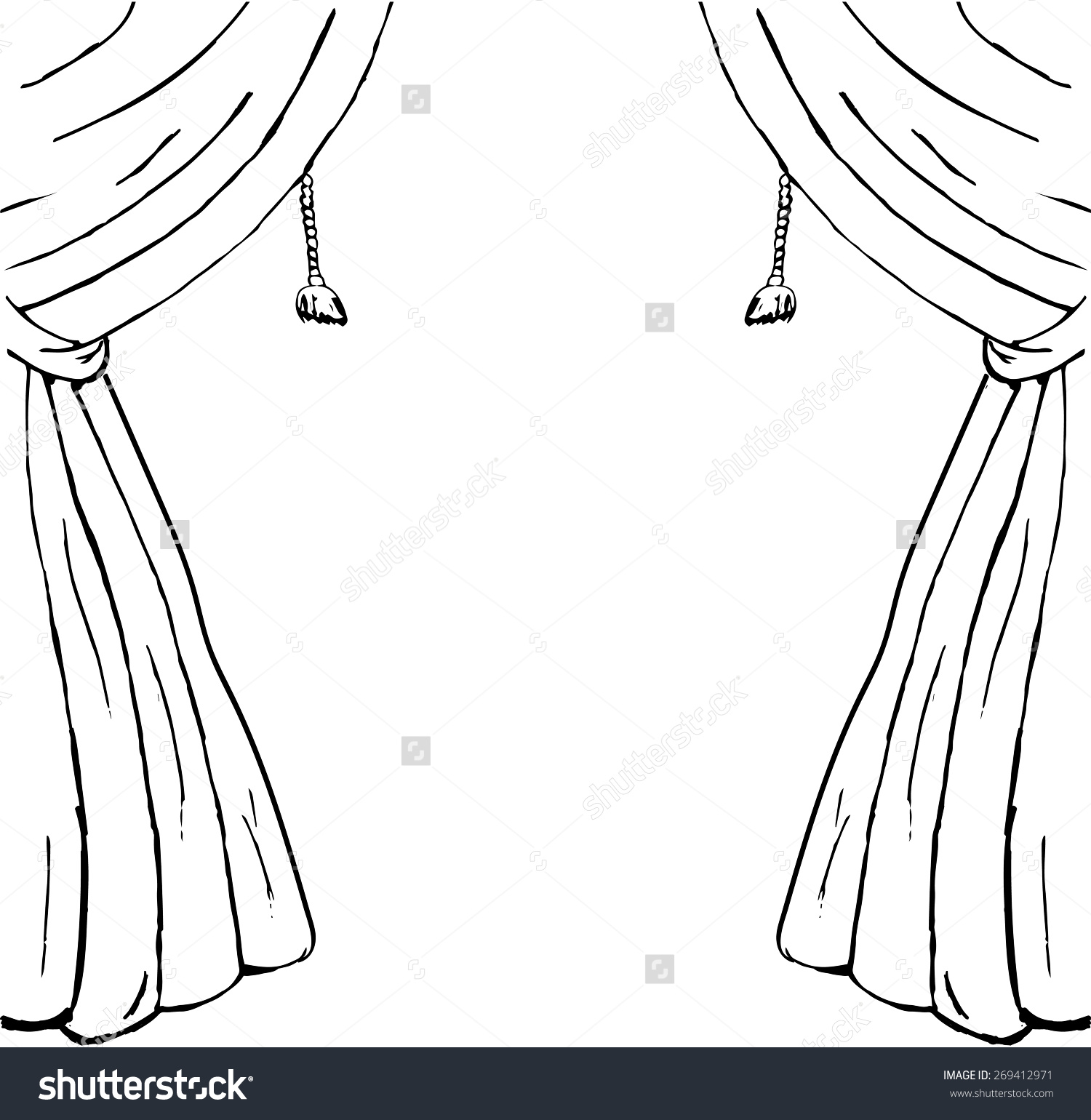 Drawn Sketch Curtains Design Element Stock Vector 269412971.