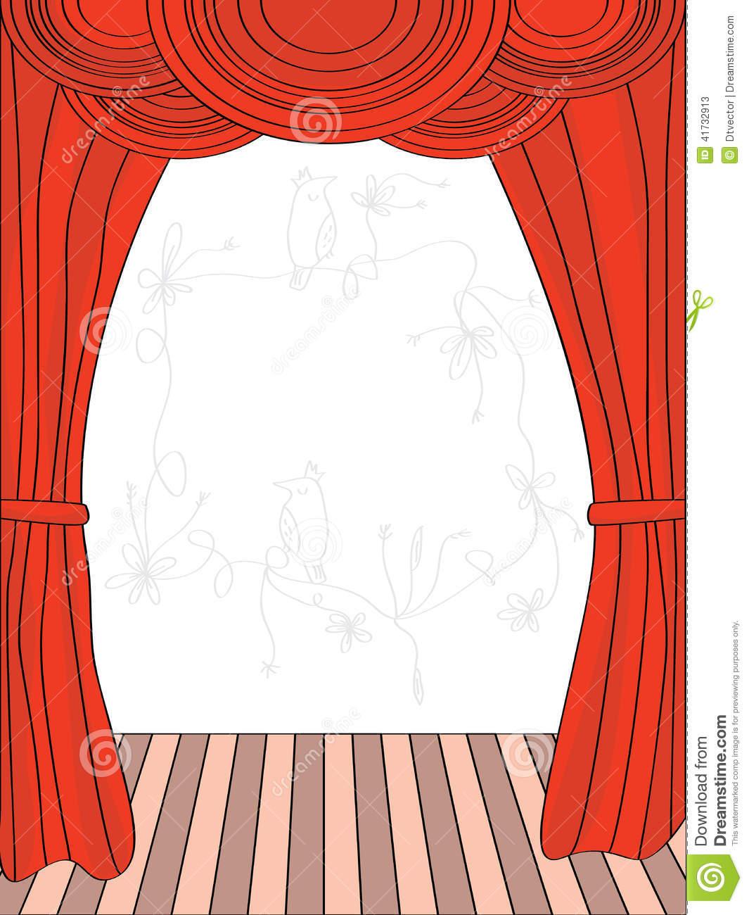 Draw Curtain Stock Vector.