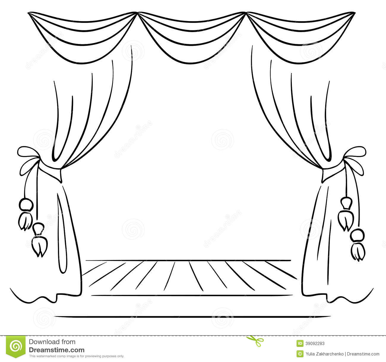 Stage curtains clipart black and white.