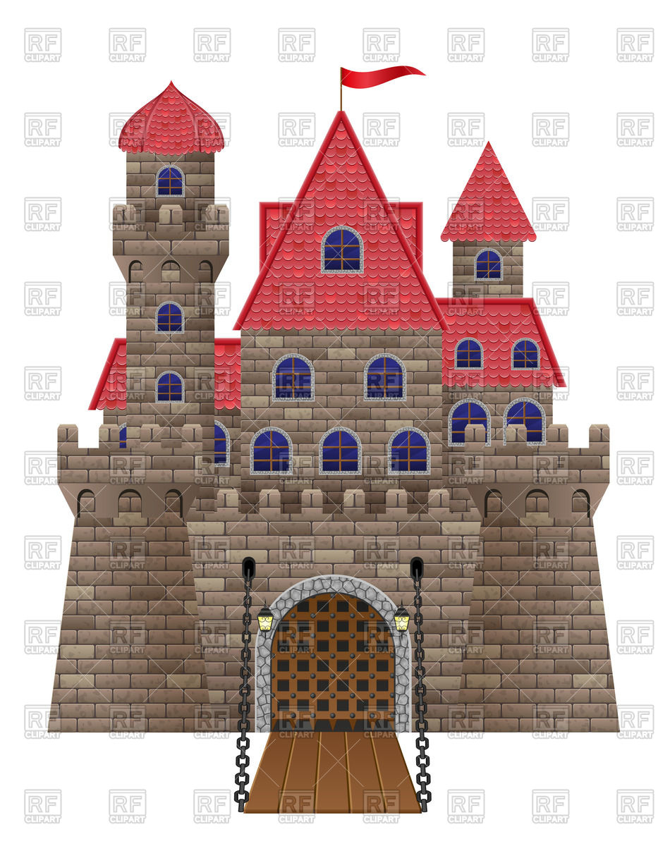 Medieval stone castle with a drawbridge Vector Image #51574.