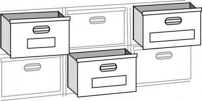 Open drawer clipart.