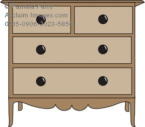 Clip Art Illustration of a Chest of Drawers.