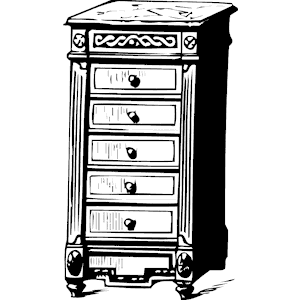 Black Chest of Drawers Clip Art.