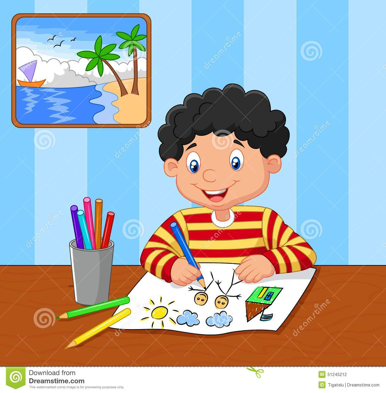 Child Drawing A Picture Clipart.