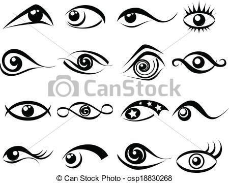 Clip Art Vector of Abstract eye symbol set.
