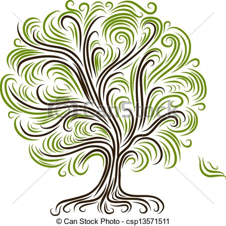 Vector Clip Art of Abstract tree with roots for your design.