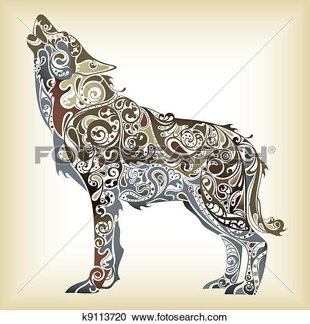 Clipart of Abstract Wolf k9113720.