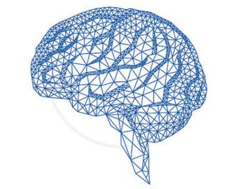 Blue human brain with abstract geometric pattern, digital clipart.
