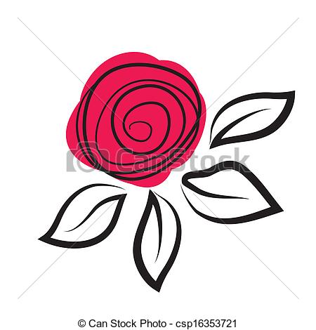 Vector Illustration of Abstract rose flower csp16353721.