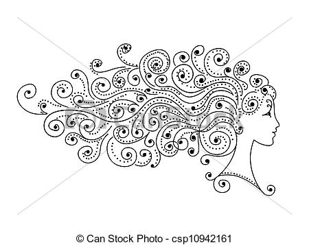 Clip Art Vector of Abstract hairstyle, female head for your design.