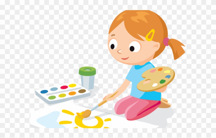 Drawing Clipart Cute Kid Painting.