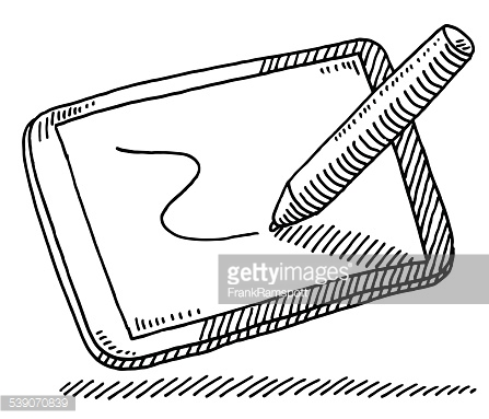 Tablet Pc Lunch Bowl Food Selfie Drawing Vector Art.