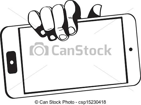 Vector Clip Art of hands holding a tablet touch computer gadget.