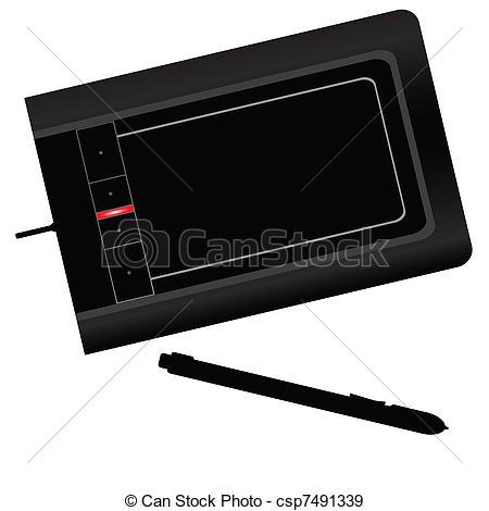 EPS Vectors of graphic tablet black vector illustration.