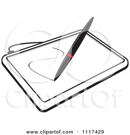 Clipart Of A Stylus Pen Drawing On A Black And White Computer.