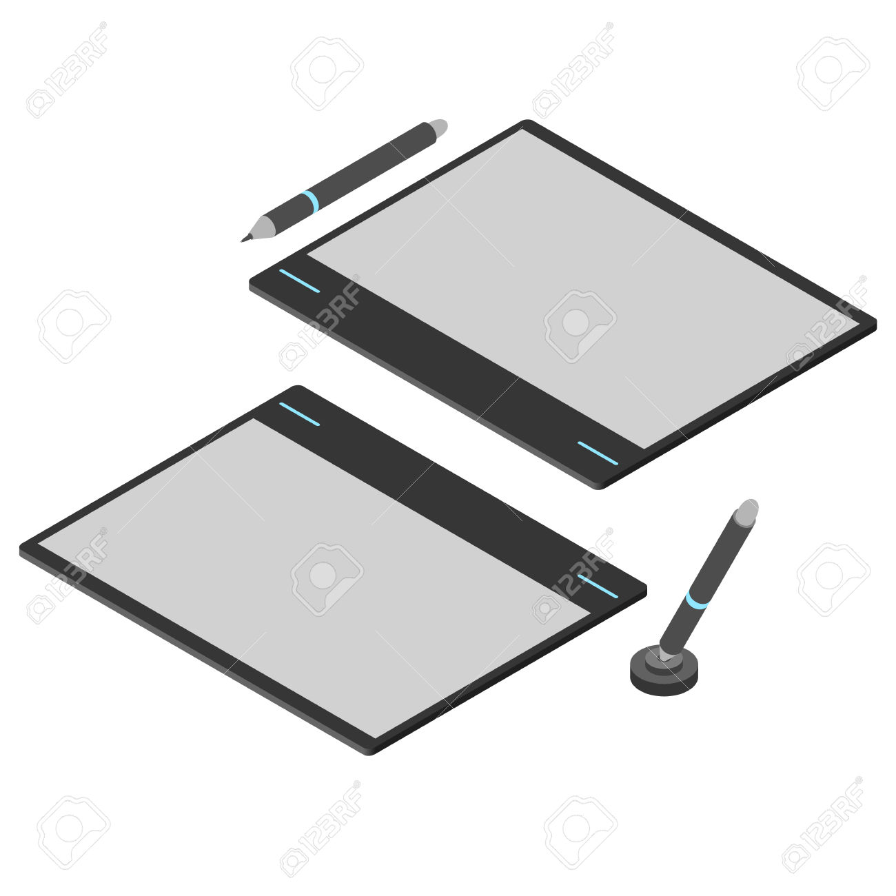 Graphics Tablet. Flat Isometric. Drawing Tool For A Computer.