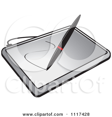 Clipart Of A Stylus Pen Drawing On A Computer Graphics Tablet.