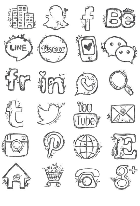 48 hand drawn social media icons social media buttons social.