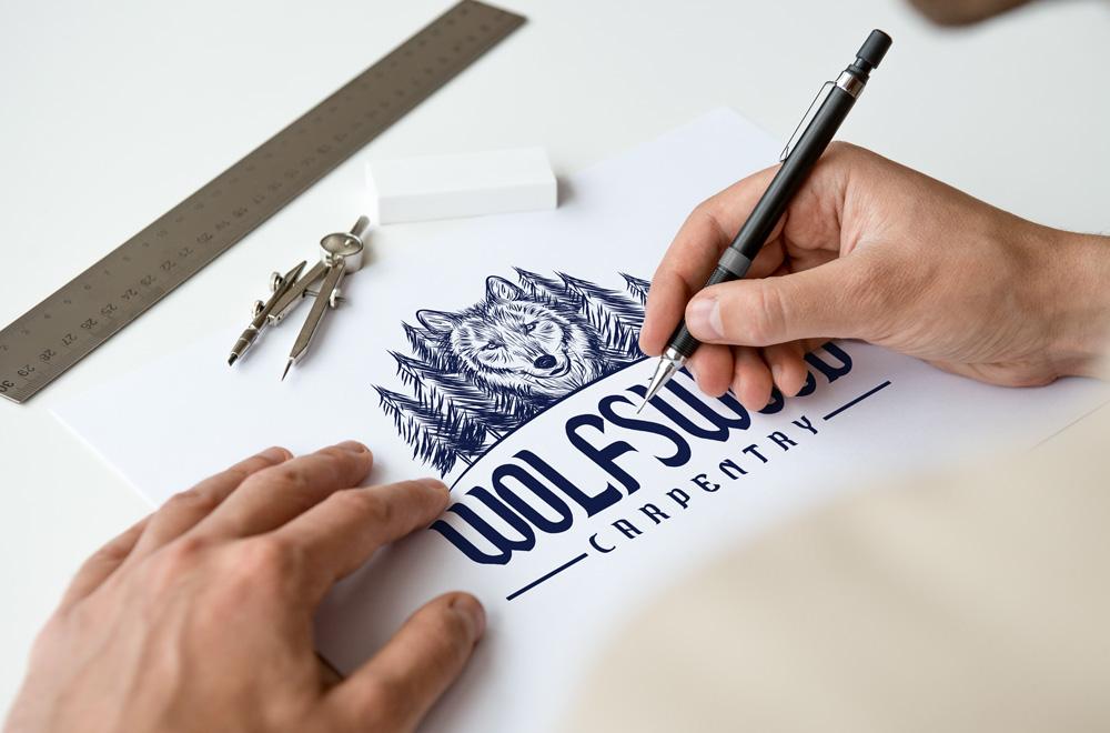 WolfsWood Carpentry drawing logo design.