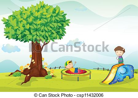 Vector Clipart of kids playing in nature.