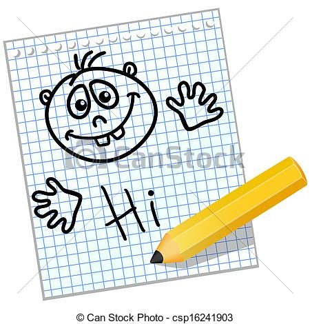 Vector Clipart of Kids drawing on a sheet of notebook.