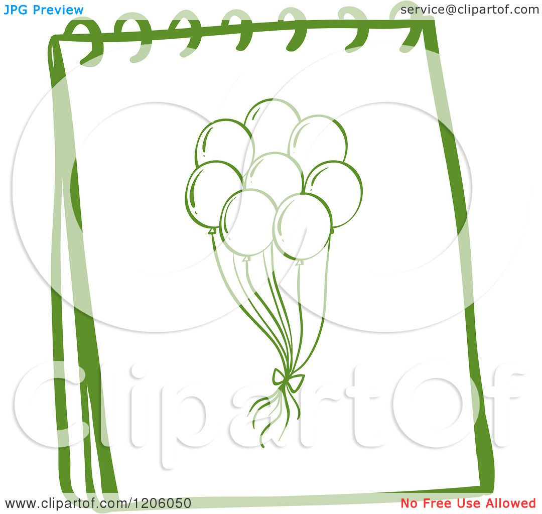 Cartoon of a Green Sketched Spiral Notebook with a Balloon Drawing.