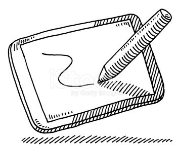 Digital Sketching Tablet Pen Drawing premium clipart.