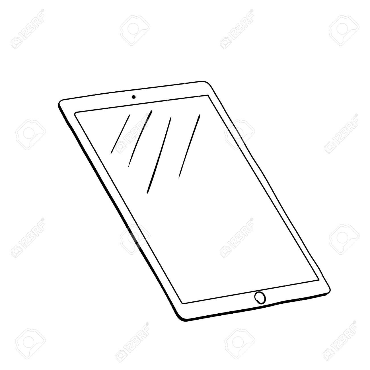 Digital drawing tablet contour illustration. Computer graphics...