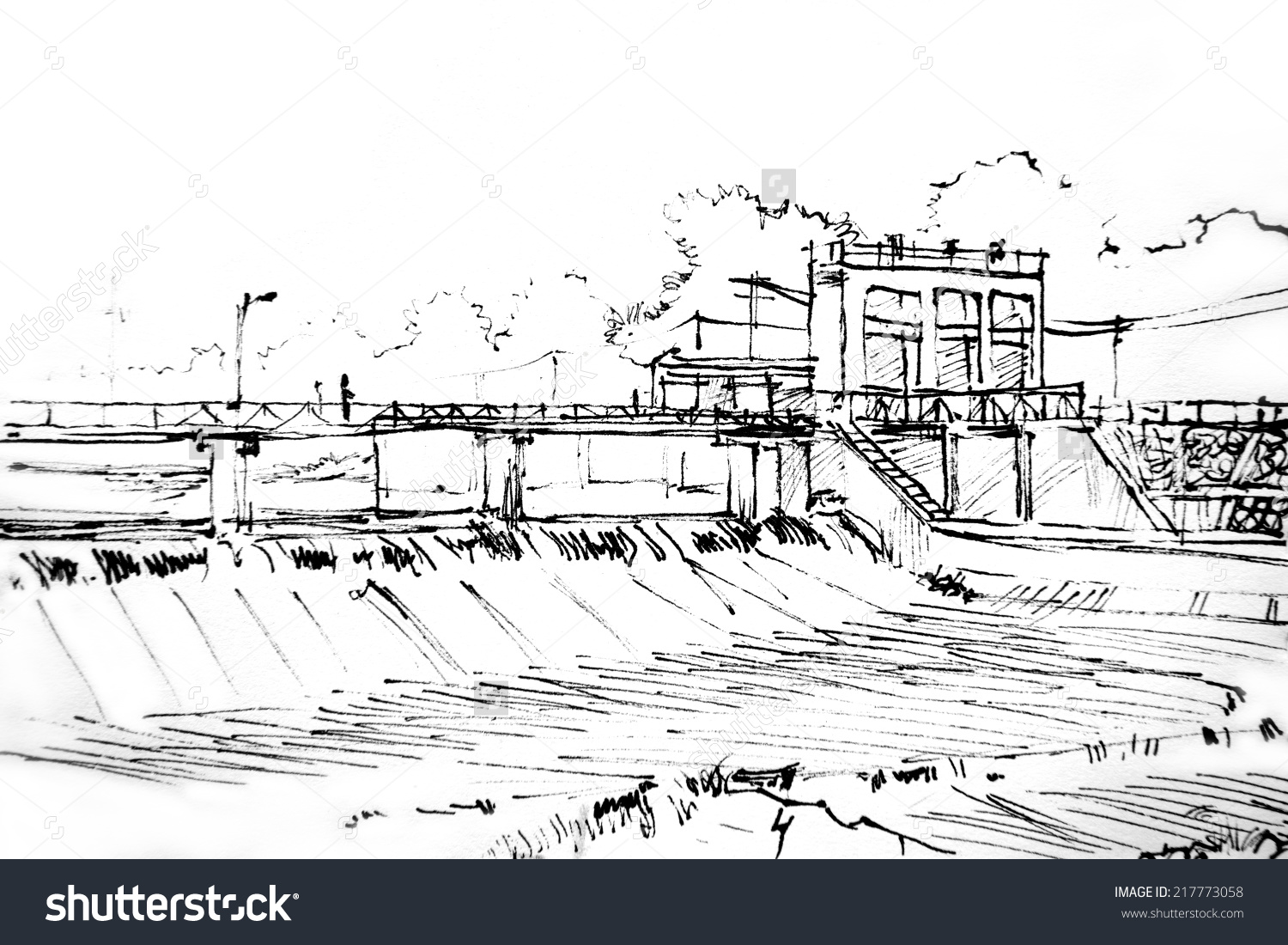 Dam Hand Draw Sketch Picture Stock Illustration 217773058.