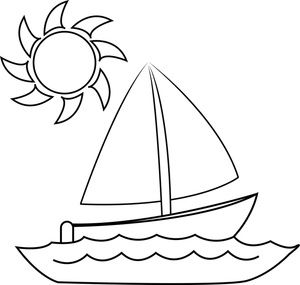 Sailboat Clipart Image: Coloring Page of a Small Sailboat on a.