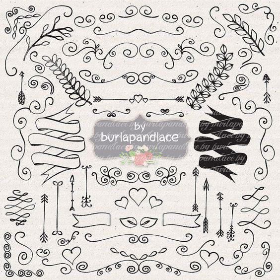 Hand Drawn clipart laurels, arrows, banners, wreath wedding.