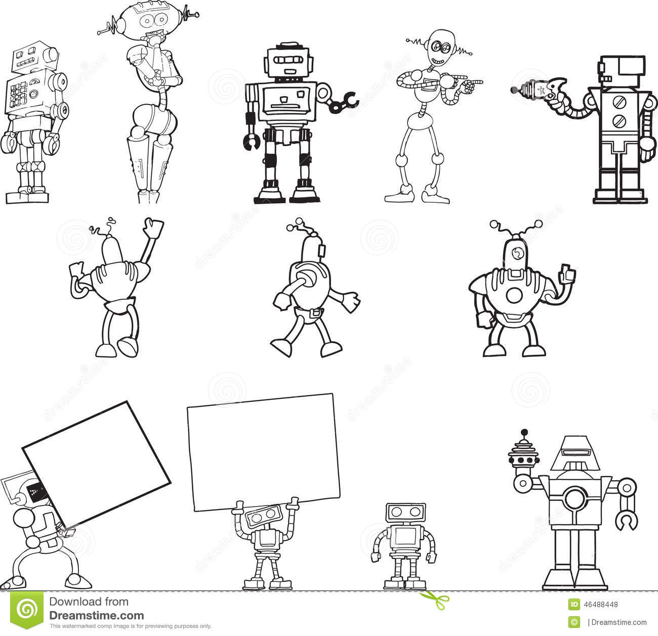 Robot Hand Drawn Clipart Set Of 12 Stock Vector.