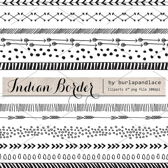 Hand Drawn clipart indian border ~ Illustrations on Creative Market.