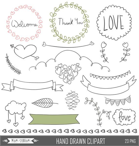 Hand Drawn Clipart Digital Laurel Clip Art Wedding by PixelShmixel.