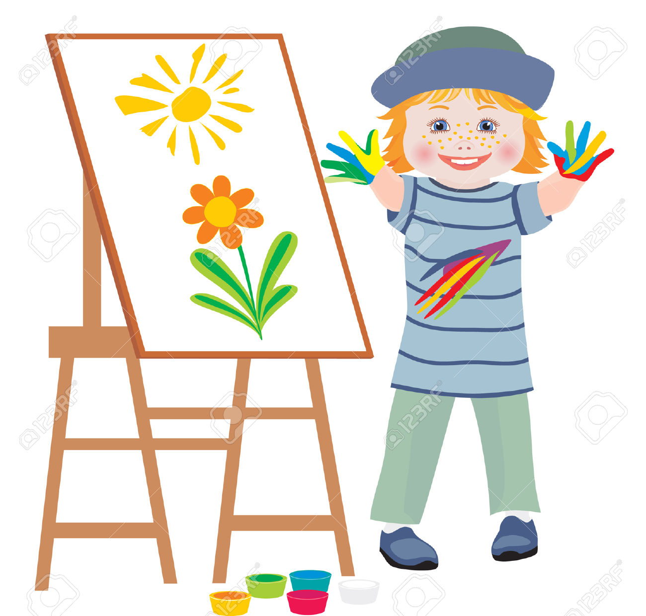 The Cheerful Child Draws Hands Flowers Royalty Free Cliparts.