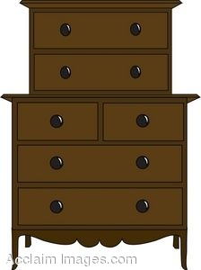 Clip Art of a A Double Layered Chest of Drawers.