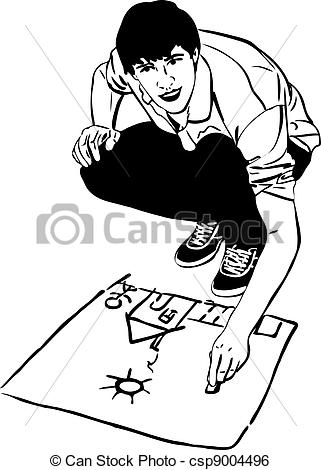 Clip Art Vector of sketch youth draws house and sun on an asphalt.