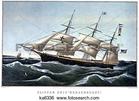 Stock Images of 1850S Clipper Ship Dreadnought Off Sandy Hook.