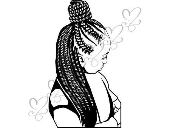 Black Woman SVG Braids Dreads Hairstyle Beauty Salon Logo Classy.