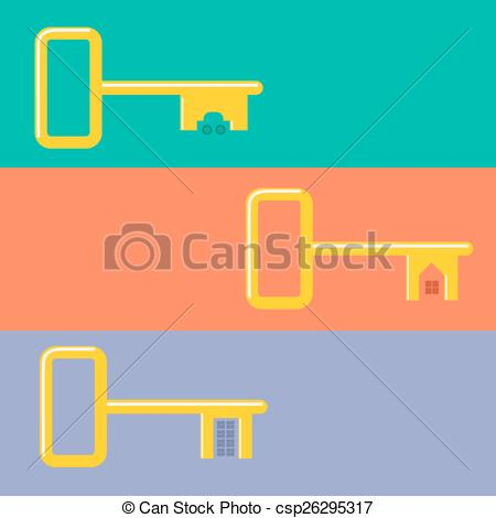 Vector Clip Art of Golden keys from car, house, apartment Web.