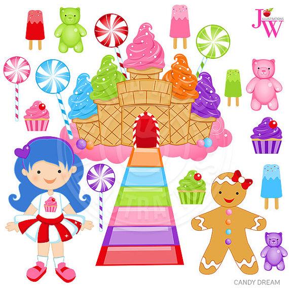 Candy Dream Cute Digital Clipart, Candy Clip art, Cupcake Graphics.