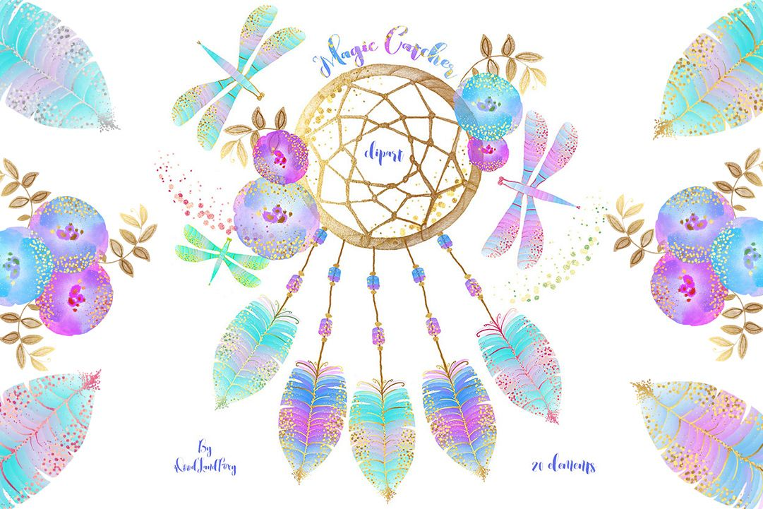 Dream catcher clip art, digital watercolor clipart, feathers with gold  confetti, flowers, dragonflies, Translucent and neon effects, magic.