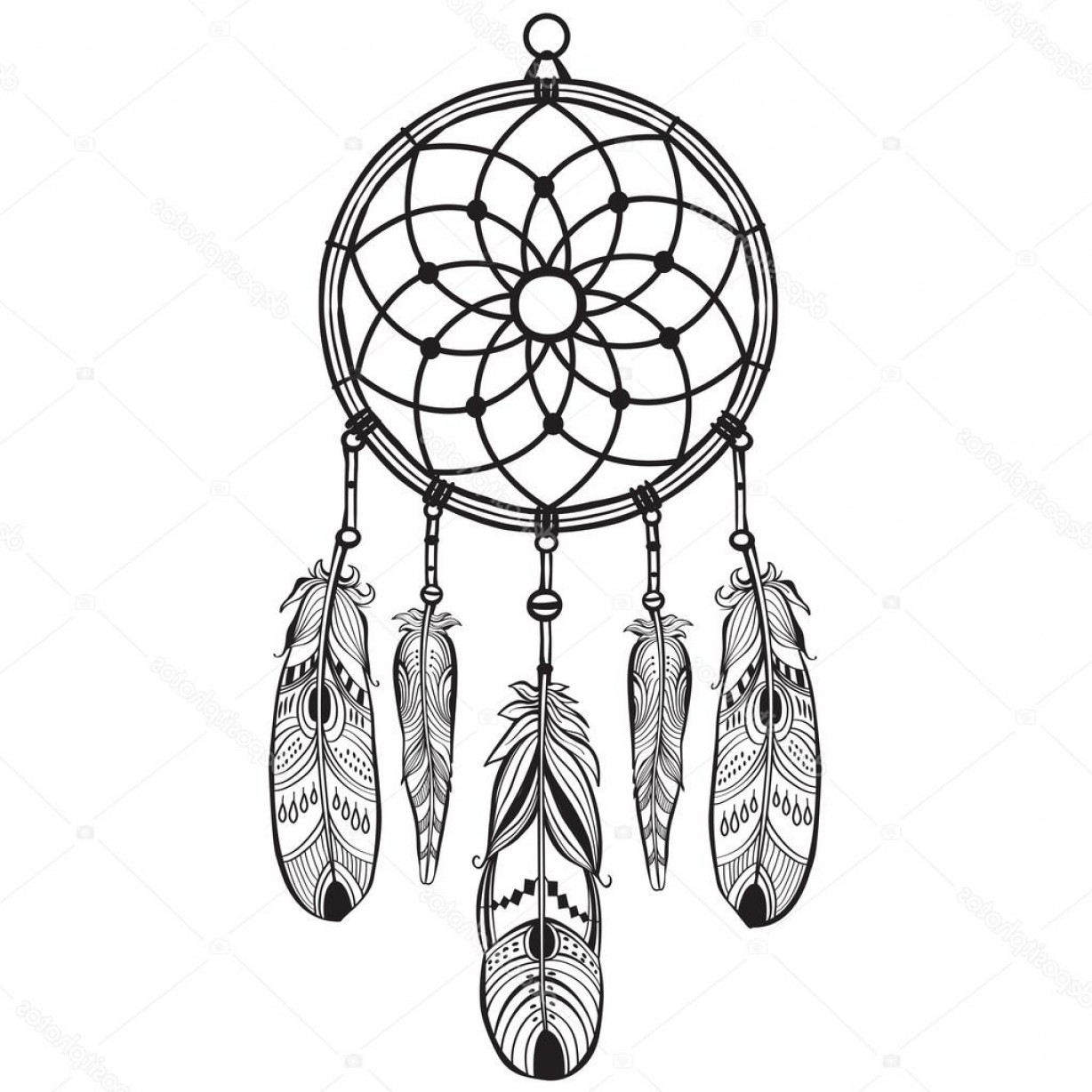 Indian Dream Catcher Vector.