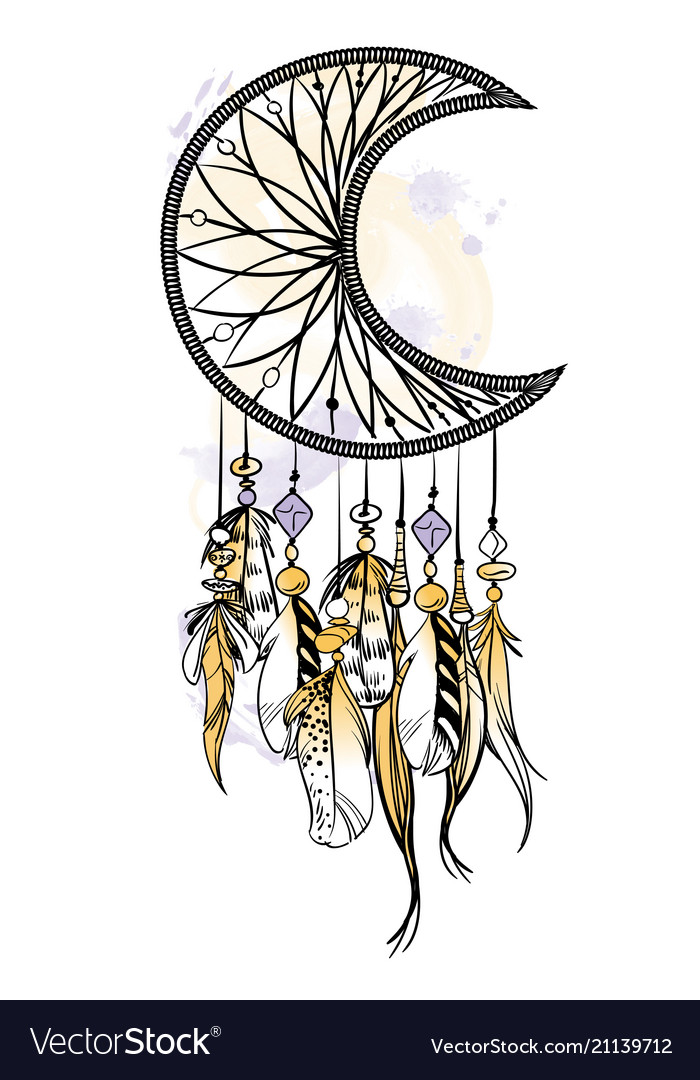 With hand drawn dream catcher.