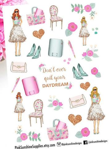AQUAMARINE DREAM Day Square Stickers for your Planner.