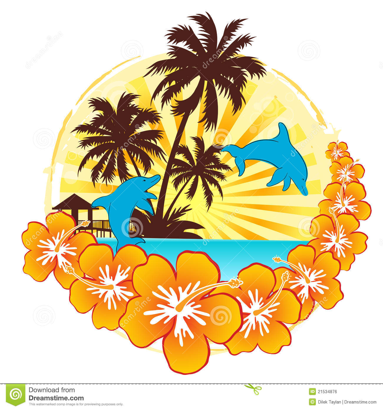Dream Holiday With Dolphin Royalty Free Stock Image.