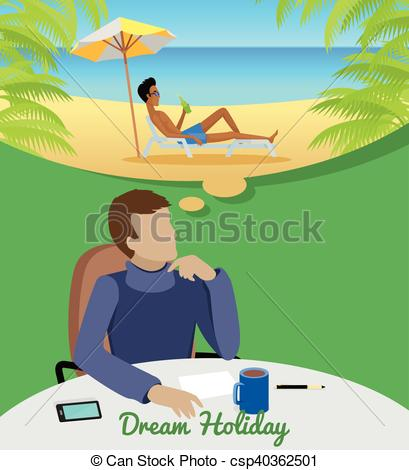 Vector Clipart of Man Dreaming About Vacation on the Beach.
